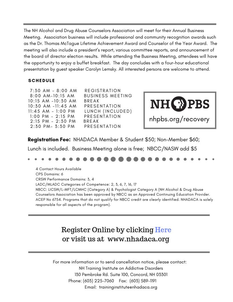 NHADACA/NHTIAD - Training Events